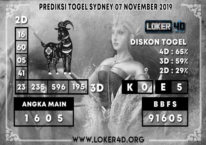 PREDIKSI TOGEL SYDNEY LOKER4D 07 NOVEMBER 2019