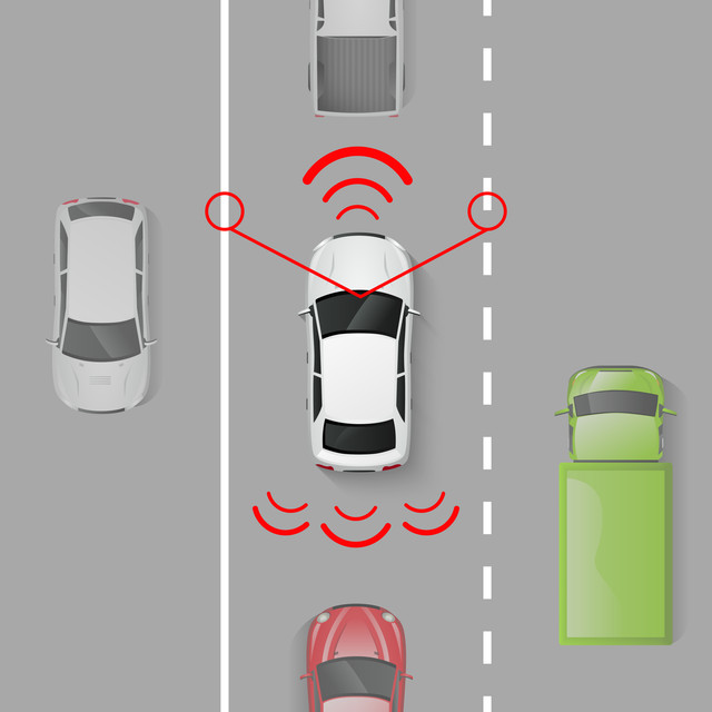 Car-safety-system-with-top-view-auto-in-motion-on-the-road-vector-illustration