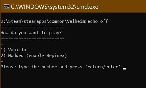 Screenshot of batch file running