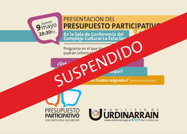 Locales: Se suspendió la presentación del Presupuesto Participativo