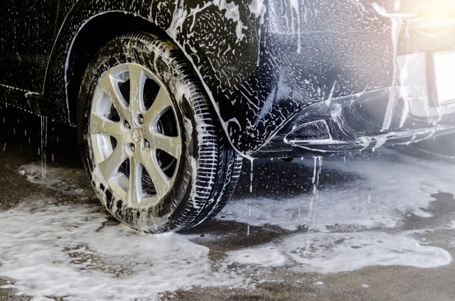 Car-wash-black-with-foam-bubbles
