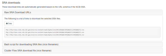 sra-explorer : find SRA and FastQ download URLs in a couple of clicks
