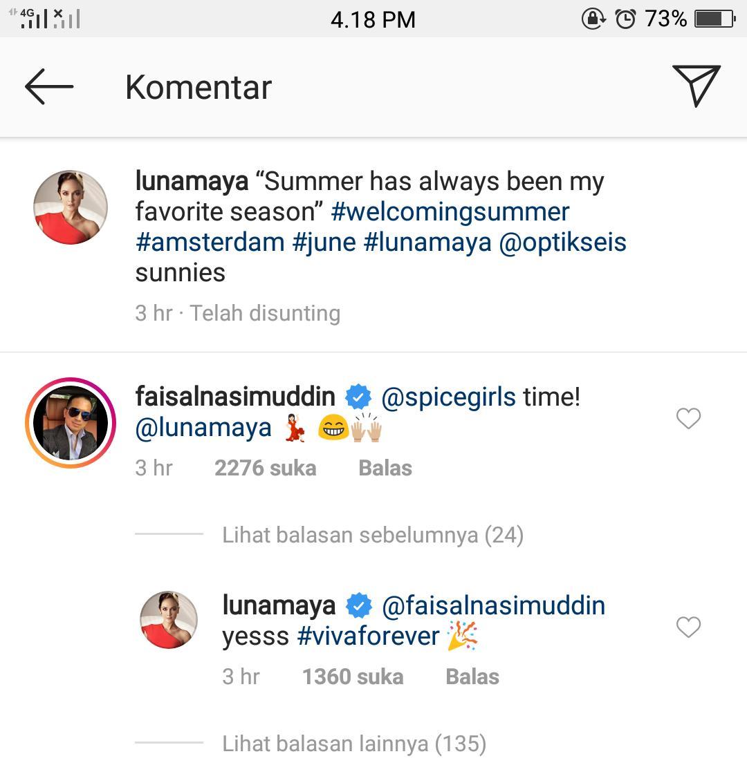 Komentar Faisal Nasimuddin di Instagram Luna Maya