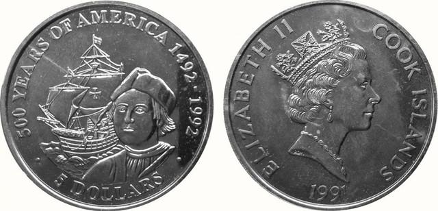 5 долларов в честь 500 лет открытия Колумбом Америки. Остров Кука 1991