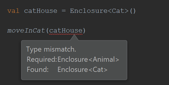 Type mismatch. Required: Enclosure<Animal>. Found: Enclosure<Cat>