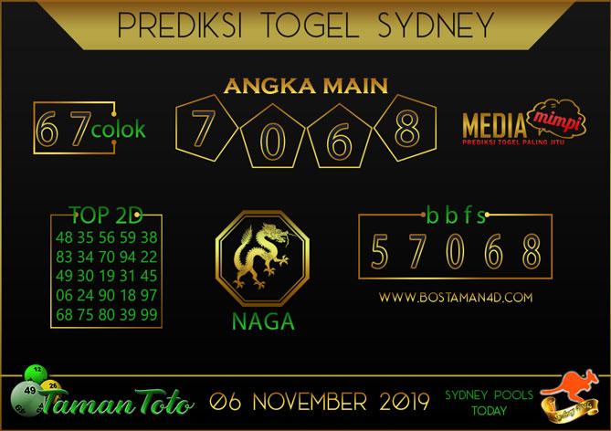 Prediksi Togel SYDNEY TAMAN TOTO 06 NOVEMBER 2019