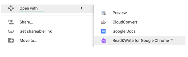 Right click menu showing 'Open with' option and 'Read&Write for Google Chrome' highlighted.