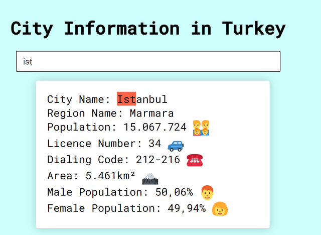 Screen Shot from city population app