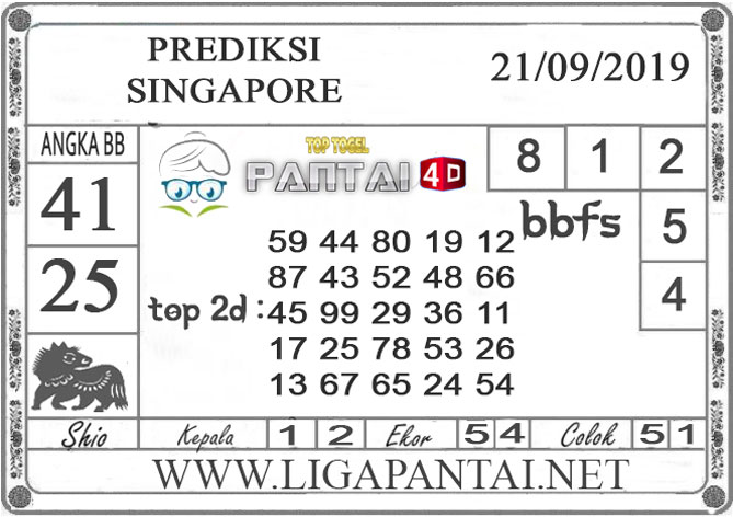 "PREDIKSI TOGEL ""SINGAPORE"" PANTAI4D 21 SEPTEMBER 2019"