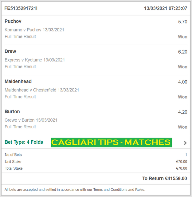 VIP TICKET CAGLIARI TIPS | FOUR FIXED MATCHES