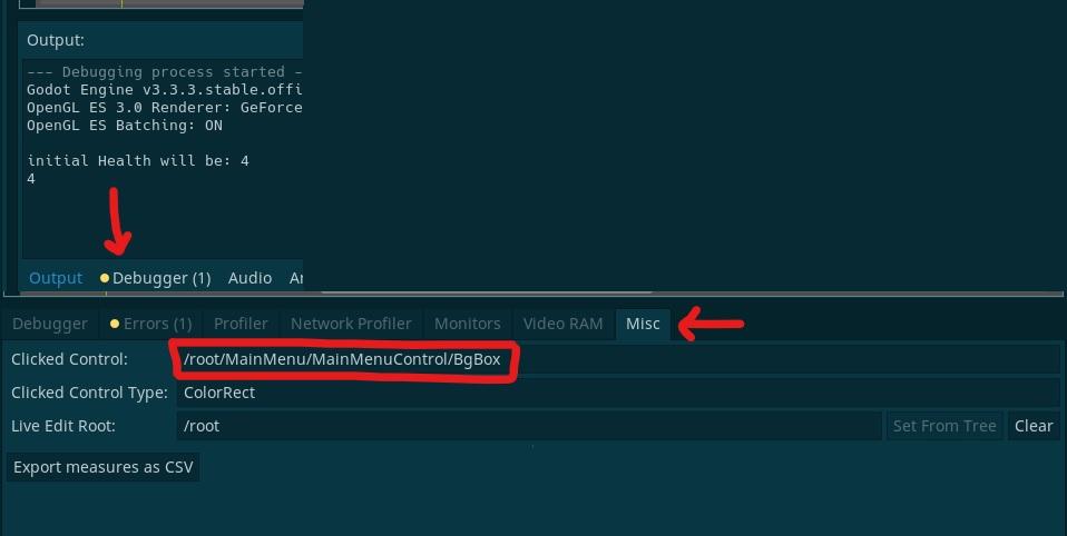 Clicked control - Godot debugger