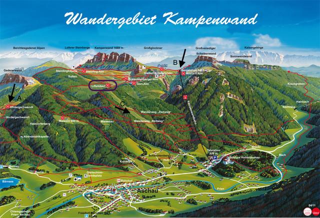 Kampenwand-Panoramakarte mit Aufstiegen zum Liftstüberl