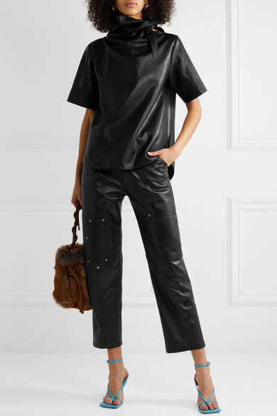 Cédric Charlier- Cropped tie-detailed faux leather T-shirt.