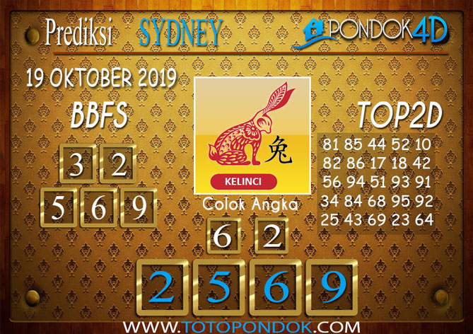 Prediksi Togel SYDNEY PONDOK4D 19 OKTOBER 2019