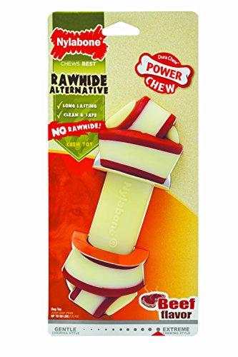 Nylabone Hueso con Nudo Extreme Alternativo al Cuero - Juguete masticable para la higiene Dental de los Perros - Sabor a Ternera - Grande - para Perros de hasta 23 kg