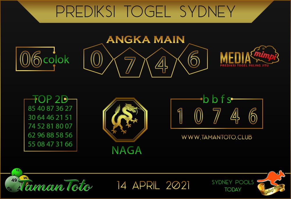 Prediksi Togel SYDNEY TAMAN TOTO 14 APRIL 2021