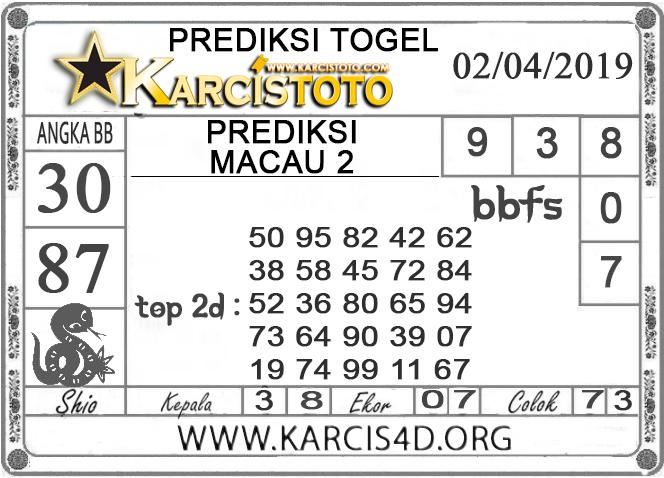 Prediksi Togel MACAU 2 KARCISTOTO 02 APRIL 2019