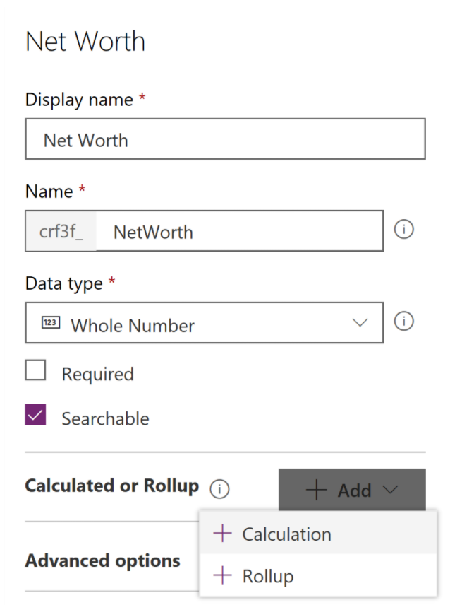 Screenshot of the Net Worth field with the Add button selected
