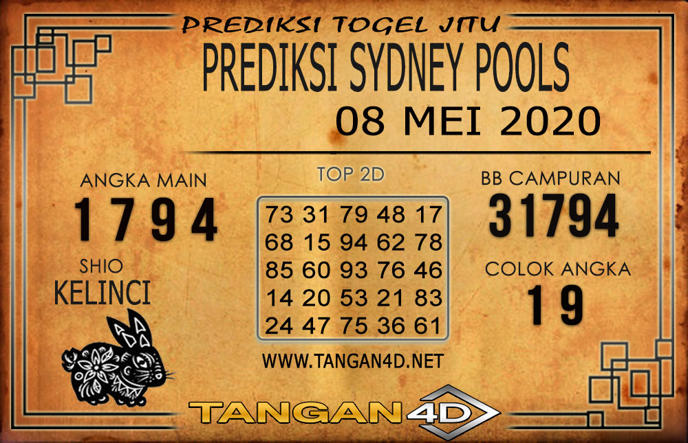 PREDIKSI TOGEL SYDNEY TANGAN4D 08 MEI 2020
