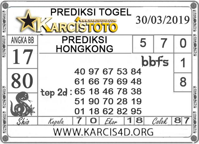 Prediksi Togel HONGKONG KARCISTOTO 30 MARET 2019