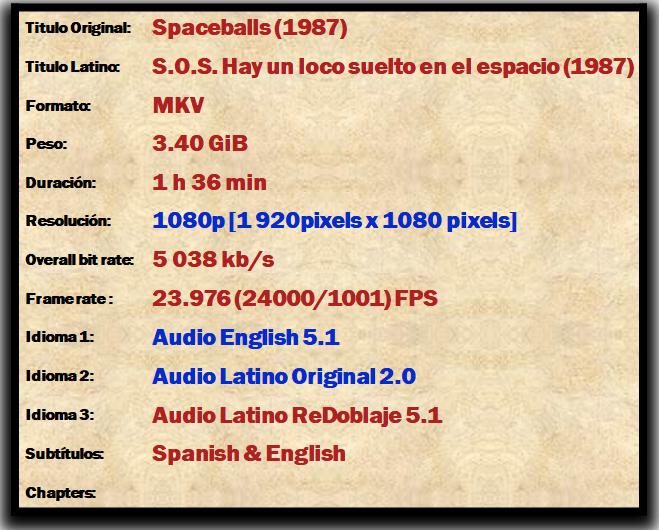 Spaceballs (1987) [1080p] [Trial] Audio Latino Original