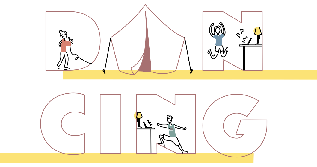 The text 'DANCING' with people doing activities inside the letters