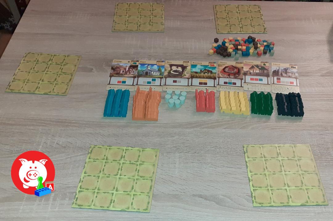 Setup voor vijf spelers.
