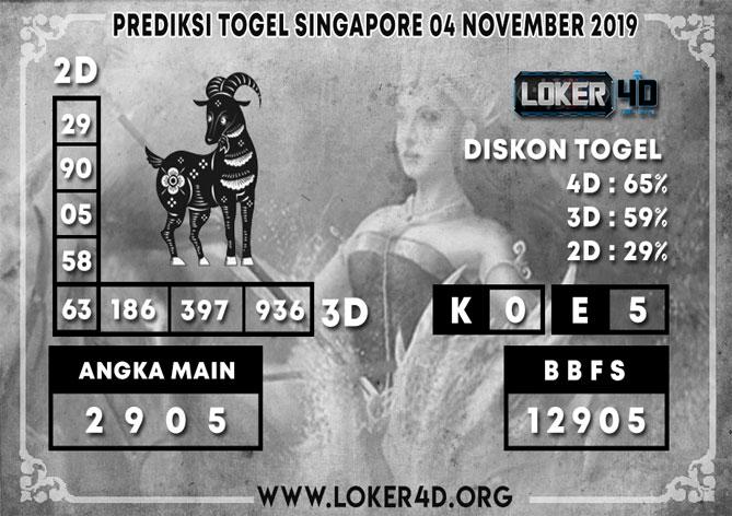 PREDIKSI TOGEL SINGAPORE LOKER4D 04 NOVEMBER 2019