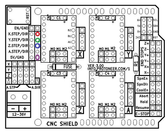 Arduino CNC Shield V3 Layout