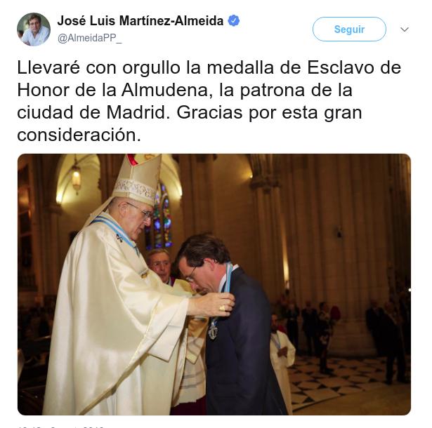 Esclavo de Honor de la Almudena. Xjsd93ferre128zz8n6z2