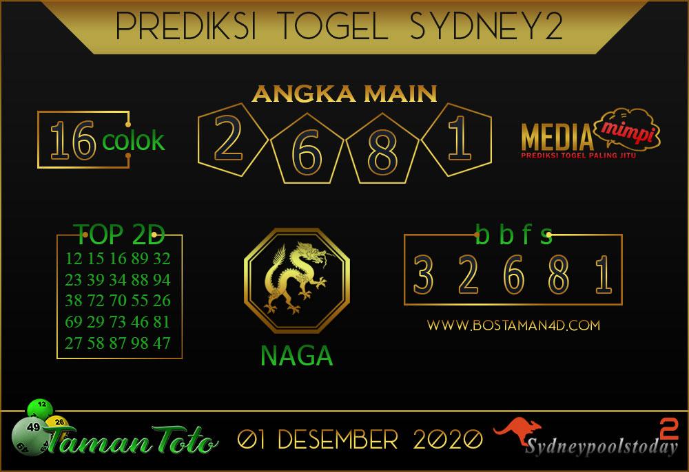 Prediksi Togel SYDNEY 2 TAMAN TOTO 01 DESEMBER 2020