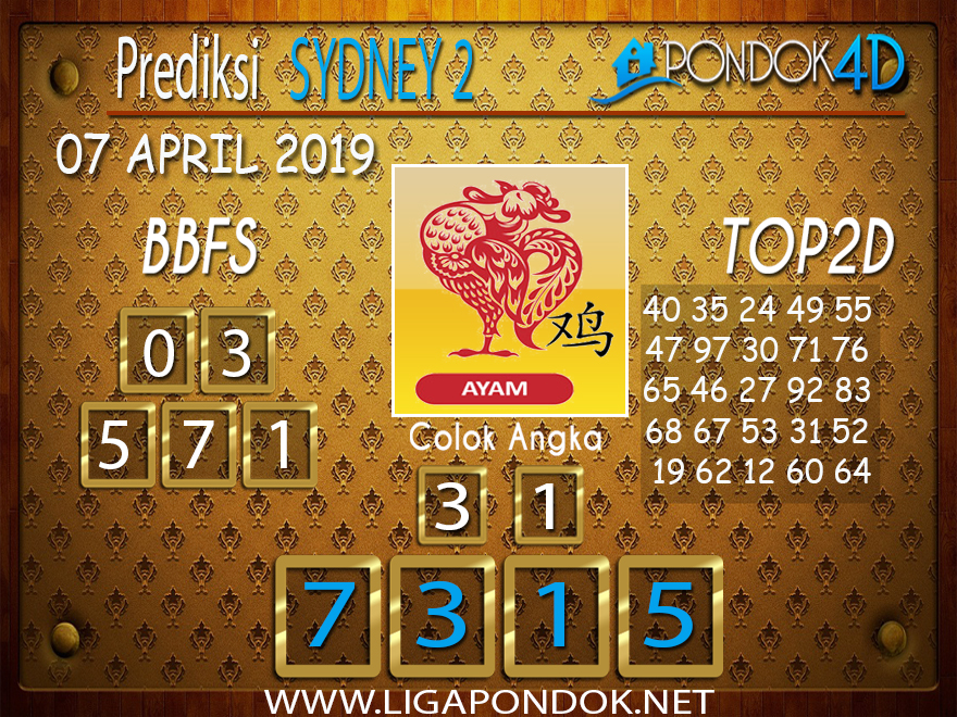 Prediksi Togel SYDNEY 2 PONDOK4D 07 APRIL 2019