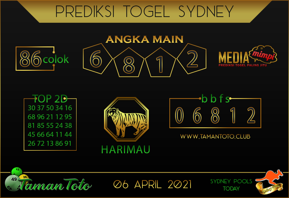 Prediksi Togel SYDNEY TAMAN TOTO 06 APRIL 2021