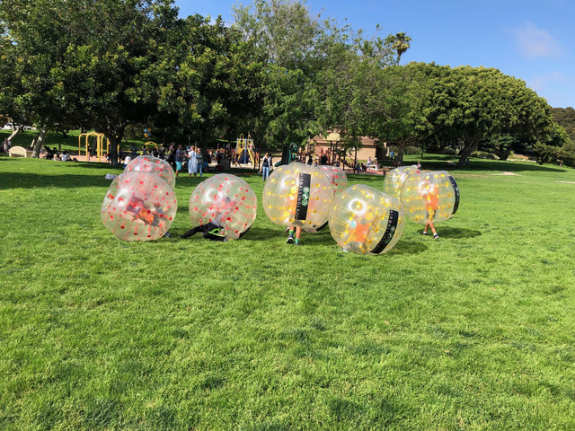 Bubble Soccer in Hermosa Beach hosted by AirballingLA. We service the best team building activities for corporate team bulding, birthday parties, fundraisers, bachelor parties, and even 50th birthday parties.