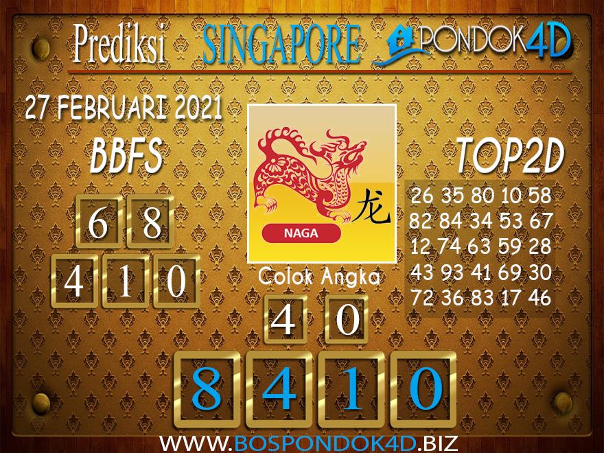 Prediksi Togel SINGAPORE PONDOK4D 27 FEBRUARI 2021