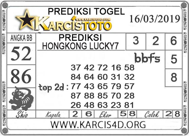 Prediksi Togel HONGKONG LUCKY 7 KARCISTOTO 16 MARET 2019