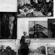 Edvard-Munch-1863-1944-Norwegian-painter-in-1938-in-the-whorkshop-of-his-Winter-Studio-at-Ekely-in-N
