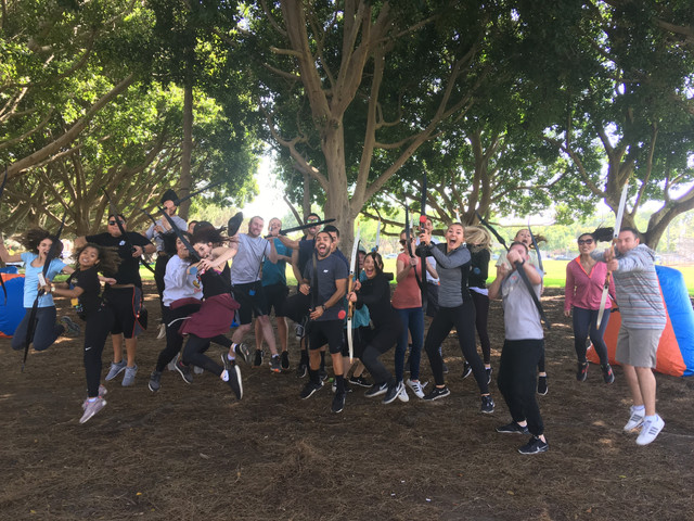 Wooden themed archery tag in the park at Santa Monica on May 3rd