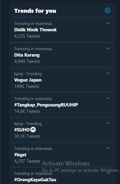 Nama Didik Nini Thowok di trending topic Twitter.