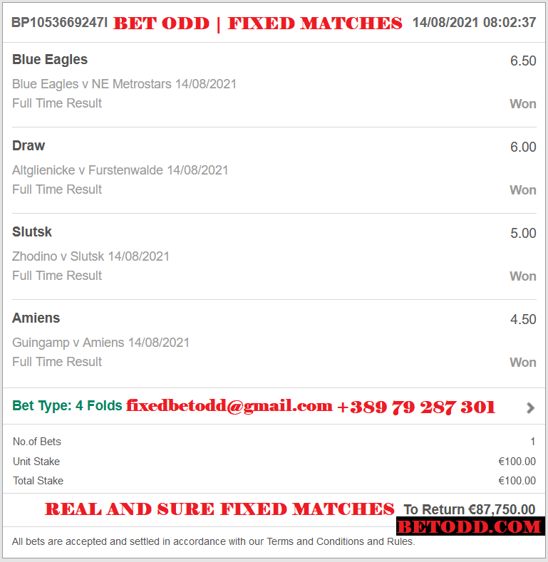 BET ODD VIP TICKET FOR 14.08.2021 | 4 COMBINED FIXED MATCHES