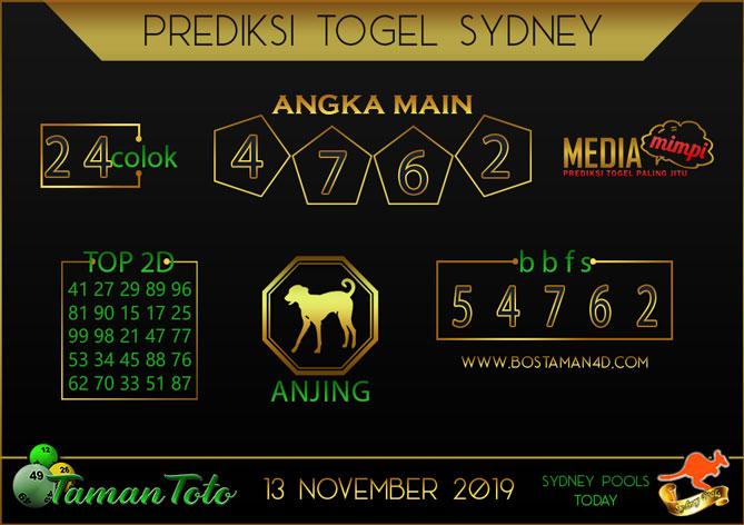 Prediksi Togel SYDNEY TAMAN TOTO 13 NOVEMBER 2019