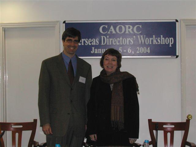 Charles Krusekopf and Mary Ellen Lane at the CAORC Directors Workshop in Delhi, India