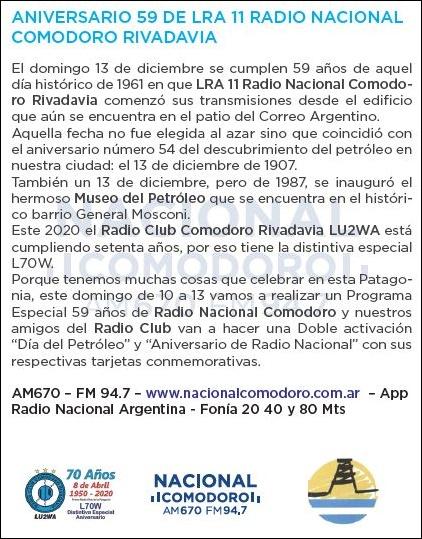 2020 12 11 lu2wa Aniv R Nacional CR y Dia petroleo - 59° Aniversario de Radio Nacional Comodoro Rivadavia