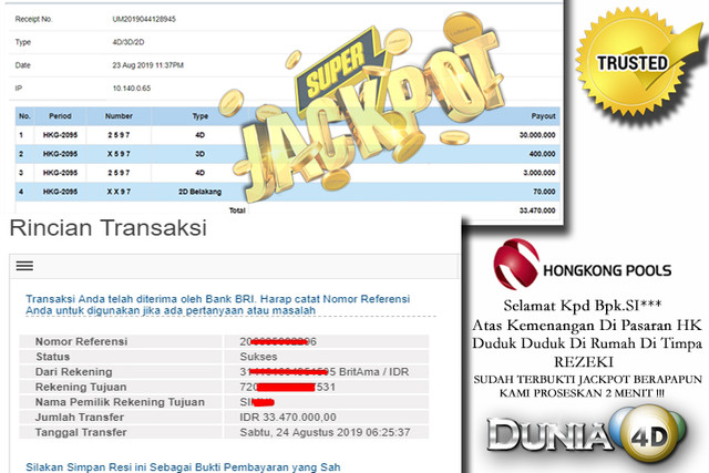 JACKPOT HONGKONG POOLS , DIBAYAR CASH !!!!