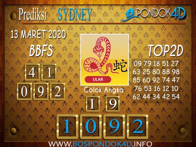Prediksi Togel SYDNEY PONDOK4D 13 MARET 2020