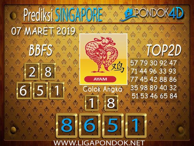 Prediksi Togel SINGAPORE PONDOK4D 07 MARET 2019