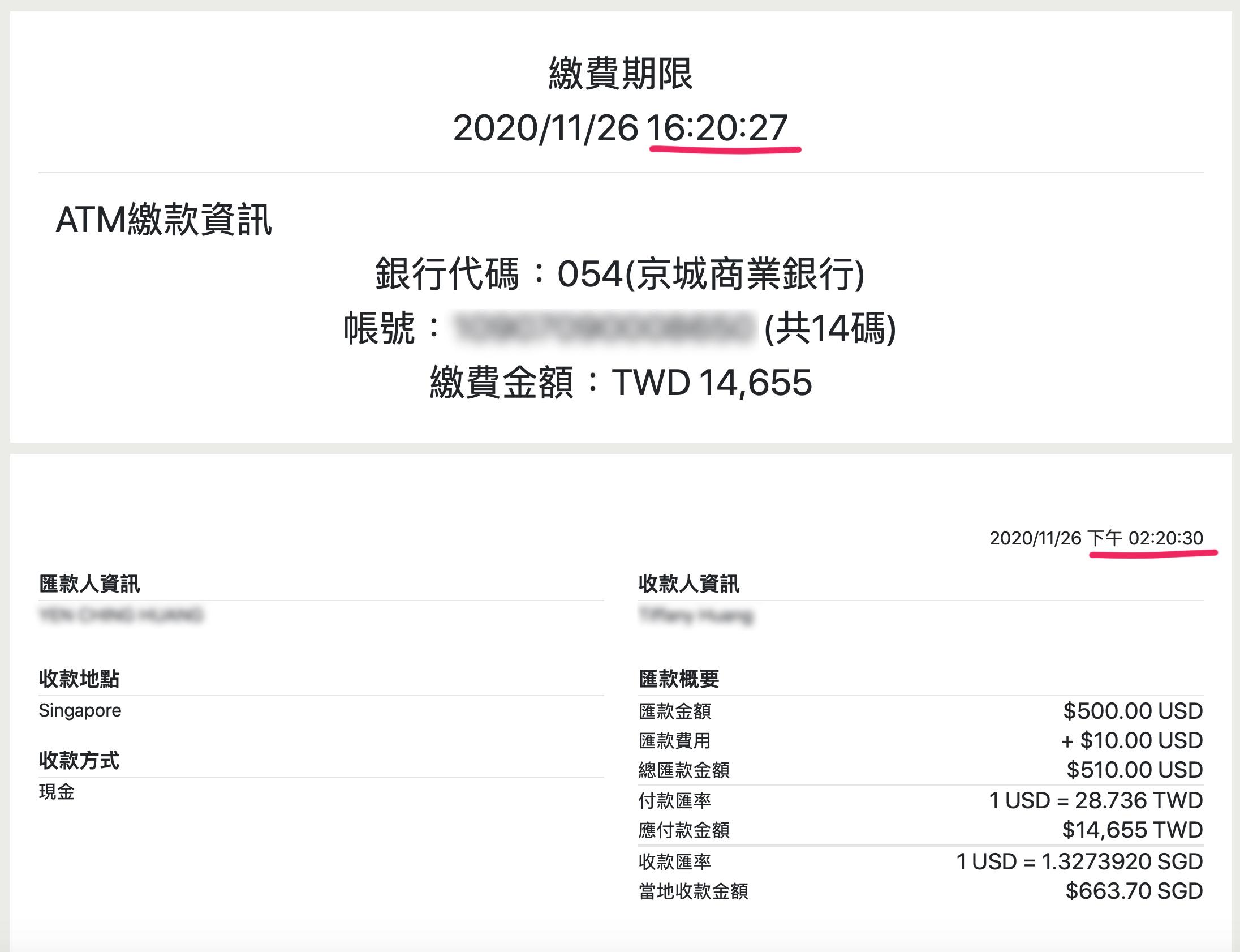 西聯匯款京速PAY 繳費期限須2小時內匯款完成