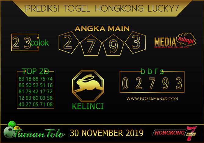 Prediksi Togel HONGKONG LUCKY 7 TAMAN TOTO 30 NOVEMBER 2019