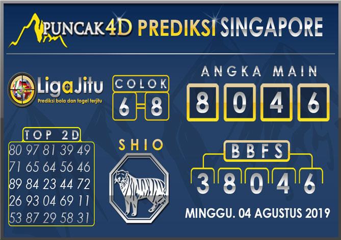 PREDIKSI TOGEL SINGAPORE PUNCAK4D 04 AGUSTUS 2019