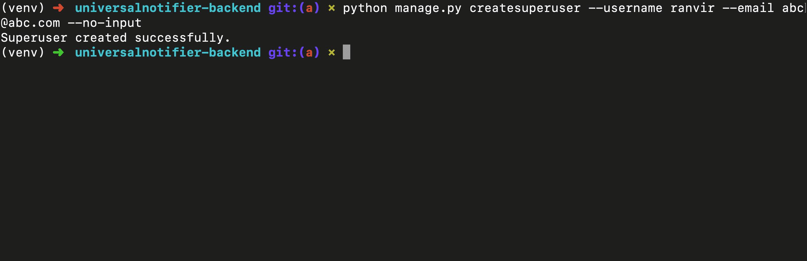 python manage.py createsuperuser no-input